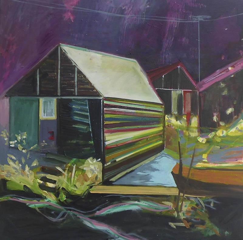 Hütte, 80 x 80, Öl auf Leinwand